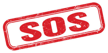 SOS red grungy rectangle stamp sign.