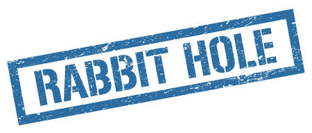 RABBIT HOLE blue grungy rectangle stamp sign. Stockfoto