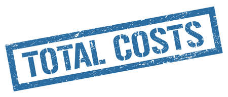 TOTAL COSTS blue grungy rectangle stamp sign.