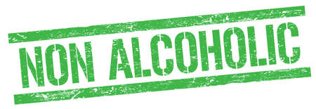NON ALCOHOLIC text on green grungy rectangle stamp sign.