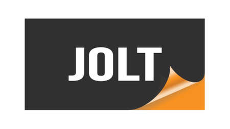 JOLT text written on black orange sticker stamp.