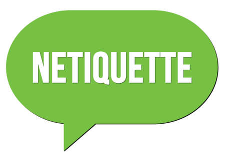 NETIQUETTE text written in a green speech bubble stamp