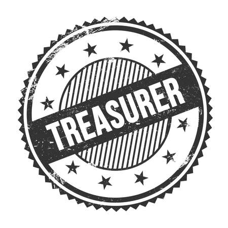 TREASURER text written on black grungy zig zag borders round stamp. 스톡 콘텐츠 - 160276817