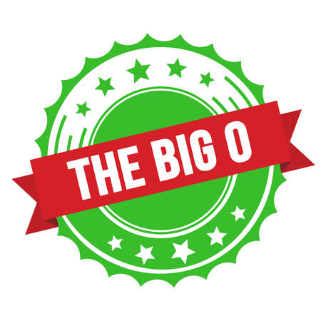 THE BIG O text on red green ribbon badge stamp. Imagens