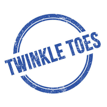 TWINKLE TOES text written on blue grungy vintage round stamp.