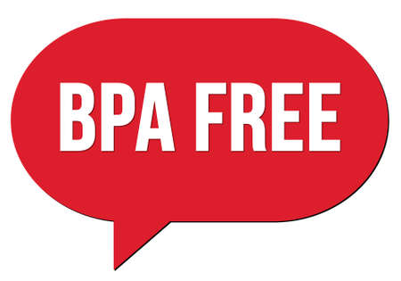 BPA FREE text written in a red speech bubble stamp