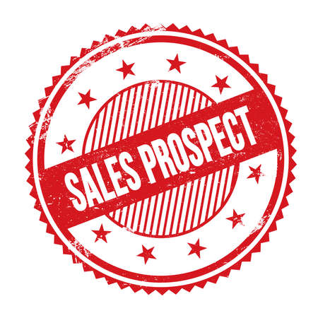 SALES PROSPECT text written on red grungy zig zag borders round stamp.