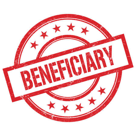 BENEFICIARY text written on red round vintage rubber stamp. Banque d'images