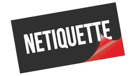 NETIQUETTE text written on black red sticker stamp.