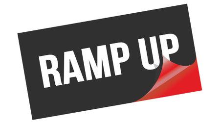 RAMP UP text written on black red sticker stamp. Banco de Imagens
