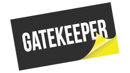 GATEKEEPER text written on black yellow sticker stamp.