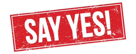 SAY YES! text on red grungy rectangle stamp sign. Stockfoto