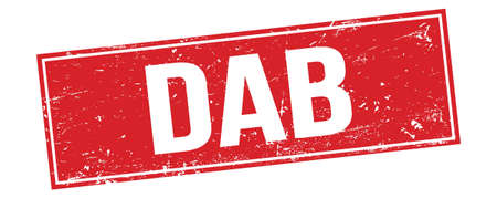 DAB text on red grungy rectangle stamp sign.