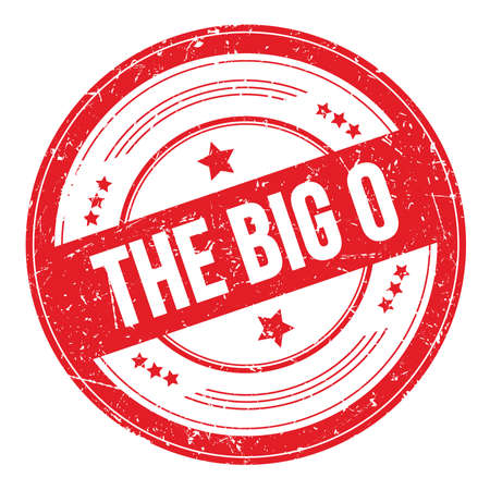 THE BIG O text on red round grungy texture stamp. Imagens