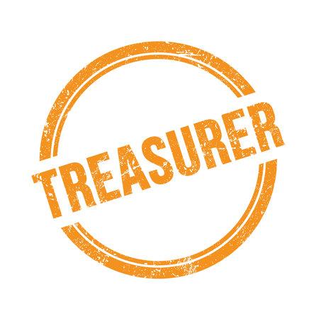 TREASURER text written on orange grungy vintage round stamp.