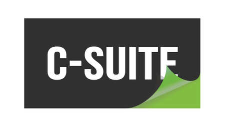 C-SUITE text written on black green sticker stamp.