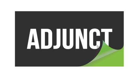 ADJUNCT text written on black green sticker stamp.