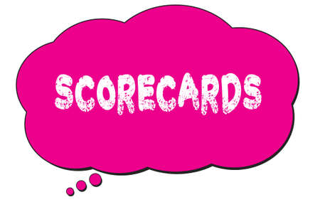 SCORECARDS text written on a pink thought cloud bubble.