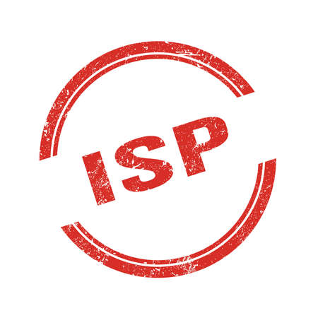 ISP text written on red grungy vintage round stamp.