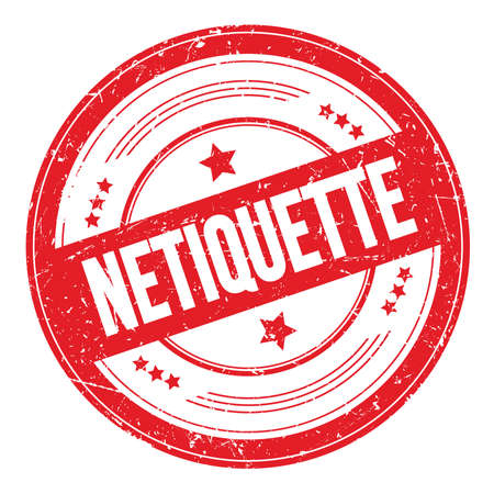 NETIQUETTE text on red round grungy texture stamp. Standard-Bild