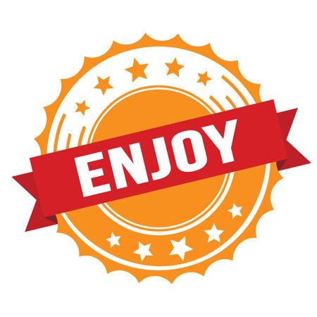 ENJOY text on red orange ribbon badge stamp. Standard-Bild