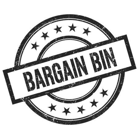BARGAIN BIN text written on black round vintage rubber stamp. Standard-Bild