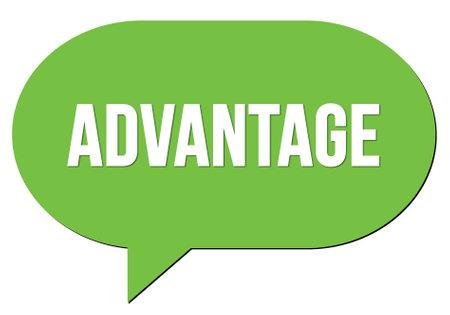 ADVANTAGE text written in a green speech bubble stamp Standard-Bild