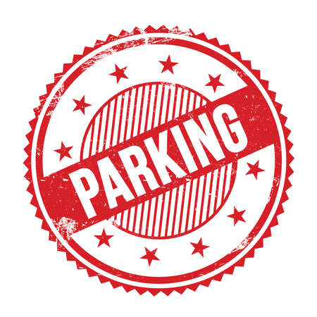 PARKING text written on red grungy zig zag borders round stamp.