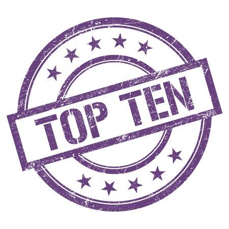 TOP TEN text written on purple violet round vintage rubber stamp.