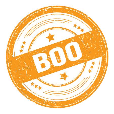 BOO text on orange round grungy texture stamp. Standard-Bild