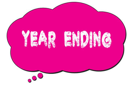 YEAR  ENDING text written on a pink thought cloud bubble. Banco de Imagens