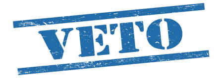 VETO text on blue grungy vintage rubber stamp.