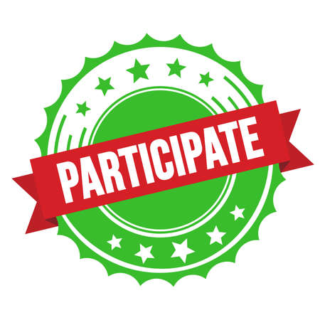 PARTICIPATE text on red green ribbon badge stamp.