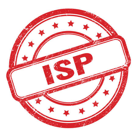 ISP text on red grungy vintage round rubber stamp.