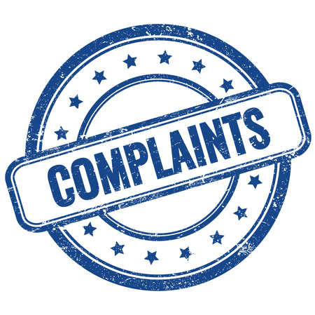 COMPLAINTS text on blue vintage grungy round rubber stamp.