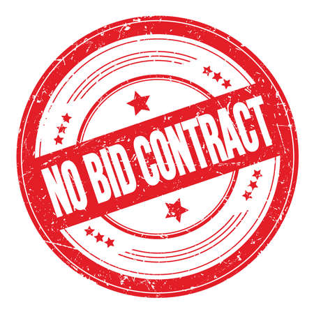 NO BID CONTRACT text on red round grungy texture stamp.