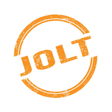 JOLT text written on orange grungy vintage round stamp. Stock Photo