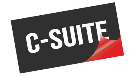 C-SUITE text written on black red sticker stamp.
