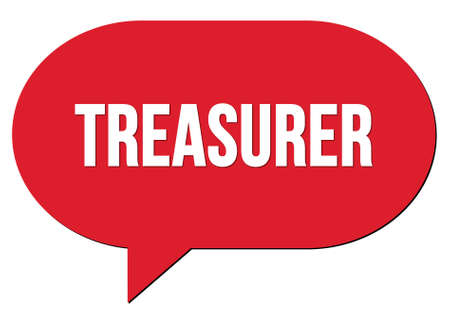 TREASURER text written in a red speech bubble stamp 스톡 콘텐츠 - 165590859
