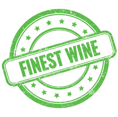 FINEST WINE text on green vintage grungy round rubber stamp. Stock Photo