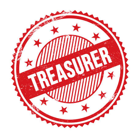 TREASURER text written on red grungy zig zag borders round stamp.