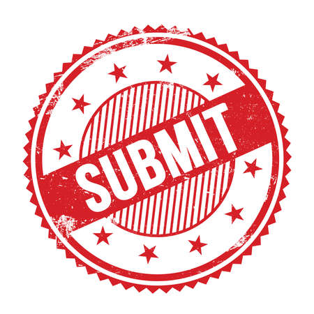 SUBMIT text written on red grungy zig zag borders round stamp.