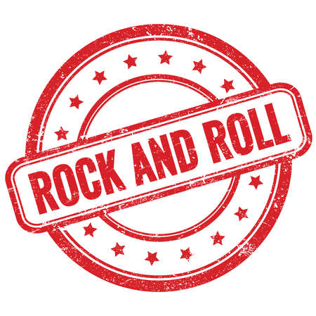 ROCK AND ROLL text on red vintage grungy round rubber stamp.