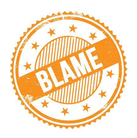 BLAME text written on orange grungy zig zag borders round stamp. Standard-Bild