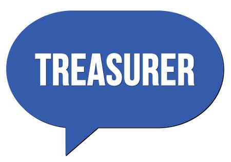 TREASURER text written in a blue speech bubble stamp