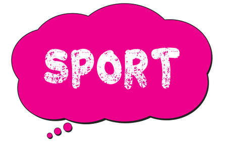 SPORT text written on a pink thought cloud bubble.