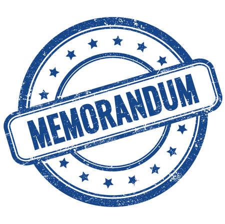 MEMORANDUM text on blue vintage grungy round rubber stamp.