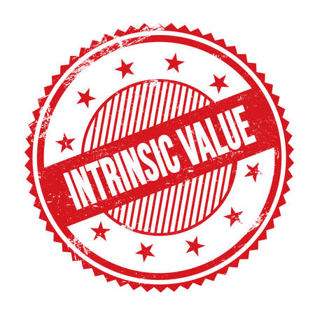 INTRINSIC VALUE text written on red grungy zig zag borders round stamp.