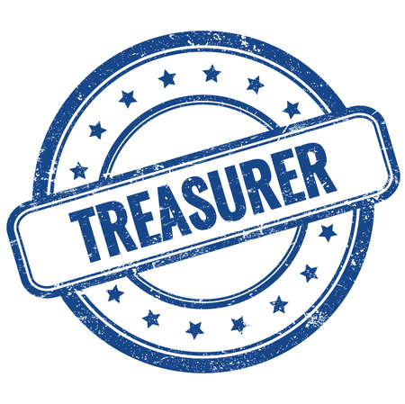 TREASURER text on blue vintage grungy round rubber stamp. Stock Photo