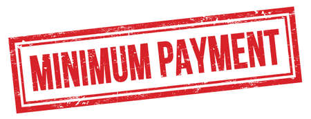 MINIMUM PAYMENT text on red grungy vintage rectangle stamp.